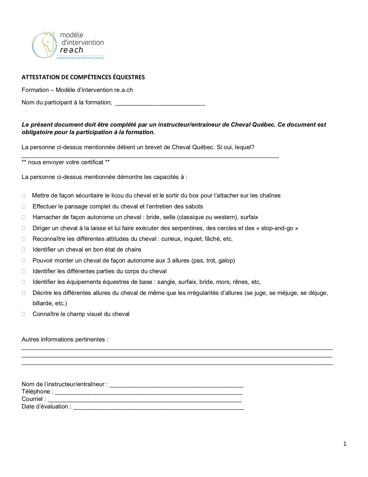 compétences équestres nécessaires pour s'inscrire à la formation re.a.ch pour ergothérapeutes, physiothérapeutes et orthophonistes